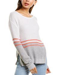 Bobi Contrast Stitch Sweater - White