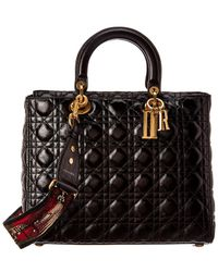 Dior Dior Large Lady Dior Quilted Cannage Leather Tote - Black