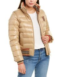 Burberry Icon Stripe Detail Leather-trim Puffer Jacket - Brown