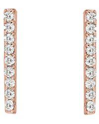 Ariana Rabbani 14k Rose Gold Diamond Bar Drop Earrings - Metallic