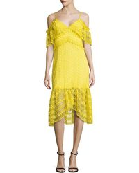 Three Floor Starry Eyed Cold-shoulder Lace Dress - Yellow