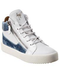 Giuseppe Zanotti Kriss Leather & Velvet Sneaker - White