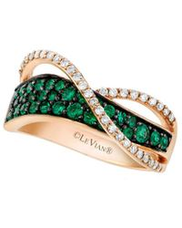 Le Vian 14k Rose Gold 0.65 Ct. Tw. Diamond & Emerald Ring - Green