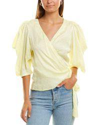 Krisa Puff Sleeve Wrap Top - Yellow