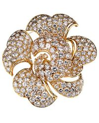 BVLGARI Bulgari 18k 34 Ct. Tw. Diamond Flower Brooch - Metallic