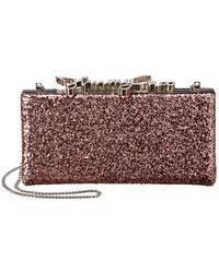 Jimmy Choo Celeste Coarse Glitter Clutch - Pink