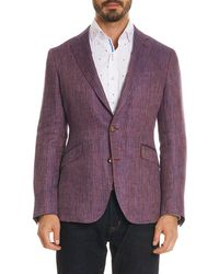 Robert Graham Tailored Fit Corbett Linen Sportscoat - Purple