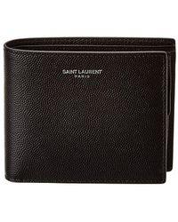 Saint Laurent Leather Bifold Wallet - Black