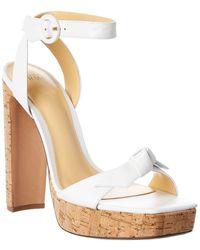 Alexandre Birman Clarita 120 Leather Platform Sandal - White