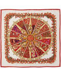 """Hermès """"aux Pays Des Epices,"""" By Annie Faivre Silk Scarf - Red"""