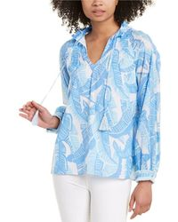 Sail To Sable Ruffle-neck Top - Blue