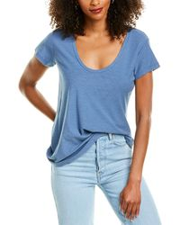 James Perse Deep V-neck T-shirt - Blue