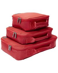 Genius Pack Set Of 3 Compression Packing Cubes Set - Red