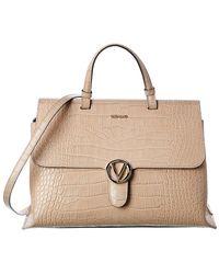 Valentino By Mario Valentino Olimpia Croc-embossed Leather Satchel - Brown