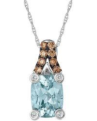 Le Vian 14k 1.19 Ct. Tw. Diamond & Aquamarine Pendant Necklace - Blue