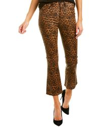 7 For All Mankind High Waist Slim Kick In Coated Penny Leopard - Brown