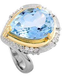 Heritage 18k & Platinum 11.16 Ct. Tw. Diamond & Topaz Ring - Metallic