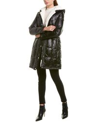 Via Spiga Shiny Long Coat - Black