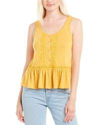 Nanette Lepore Nanette By Nanette Lepore Linen-blend Top - Yellow