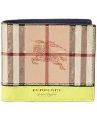 Burberry Haymarket Check & Leather International Bifold Wallet - Yellow