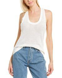 Rag & Bone Jacy Cotton Scoop Neck Tank Slim Fit Sleeveless Shirt - White