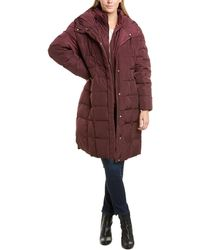 Cole Haan Plus Smocked Down Coat - Red