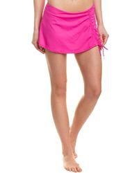 Anne Cole Side Slit Swim Skirt - Pink