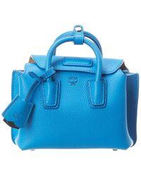 MCM Milla Mini Leather Tote - Blue