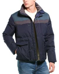 Vince Colorblock Down Puffer Coat - Blue