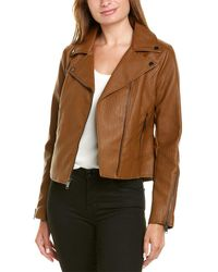 French Connection Faux Leather Jacket - Brown