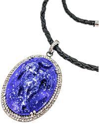 Arthur Marder Fine Jewelry Silver .85 Ct. Tw. Diamond & Lapis Necklace - Multicolour