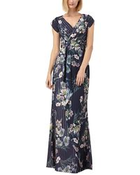 Kay Unger Floral Stripe Tulip Sleeve Chiffon Gown - Blue