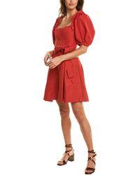 Self-Portrait Taffeta A-line Dress - Red