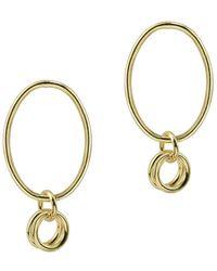 Argento Vivo 18k Over Silver Oval Earrings - Metallic