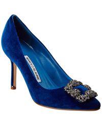 Manolo Blahnik Hangisi 90 Decollette Velvet Pump - Blue
