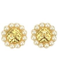Chanel - Gold-tone Faux Pearl Cc Round Clip-on Earrings - Lyst