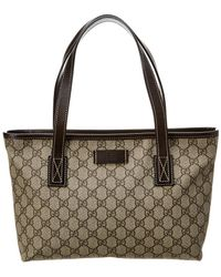 8805b34d864a Lyst - Gucci Gg Supreme Canvas & Pink Leather Tote in Pink