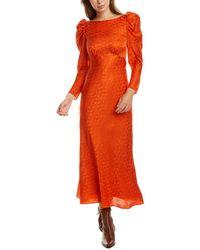 Saloni Alena Silk Midi Dress - Orange