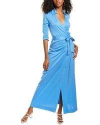 Diane von Furstenberg Abigail Silk-blend Maxi Wrap Dress - Blue