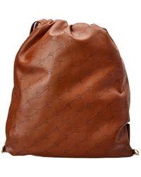 Stella McCartney Logo Drawstring Backpack - Brown