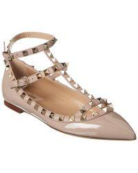 Valentino Garavani Rockstud Caged Ankle Strap Patent Ballet Flat - Brown