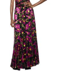 Alice + Olivia Elza Godet Silk-blend Maxi Skirt - Multicolour