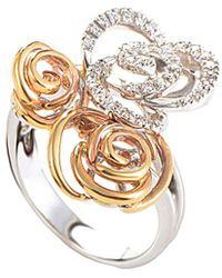 Damiani Certified 18k Two-tone 0.20 Ct. Tw. Diamond Ring - Metallic