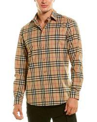 Burberry Logo Applique Vintage Check Woven Shirt - Brown
