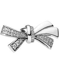 PANDORA Silver Cz Oversized Sparkling Bow Charm - Metallic