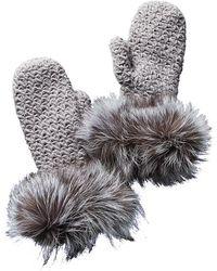 Surell - Fleece-lined Knit Mittens - Lyst