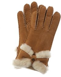 UGG Turned Bow Suede Gloves - Brown