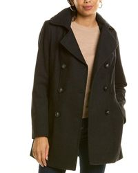 Nautica Double-breasted Wool-blend Peacoat - Grey