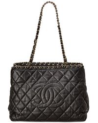 Chanel Black Quilted Lambskin Leather Chain Me Tote