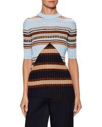 Céline - Silk Striped Asymmetric Sweater - Lyst